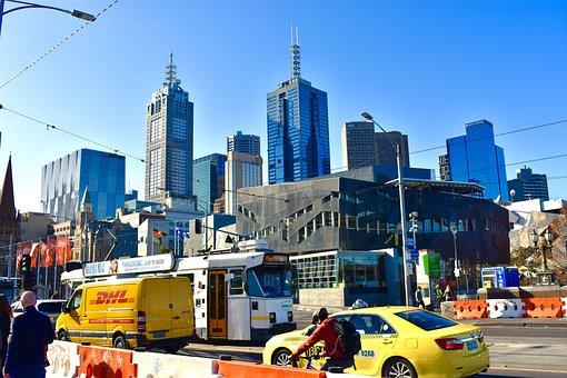 Melbourne, Australia, City, Skyline, Sky, Metro, Taxi