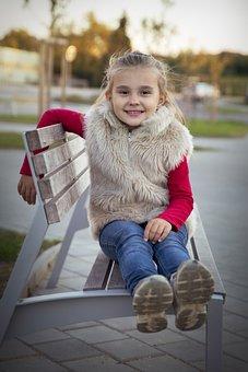 Autumn, Mood, Children, October, Portrait, Bench