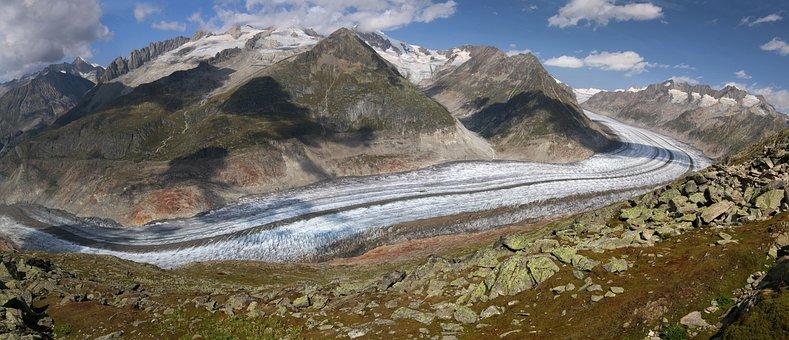 Switzerland, Aletsch, Glacier, Mountains, Alpine, View