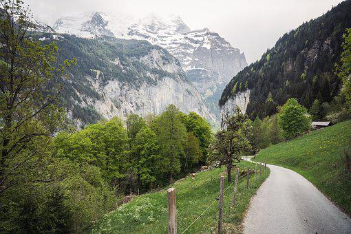 Mountains, Snow, Grass, Landscape, Nature, Outdoors