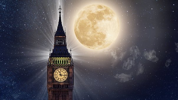 Big Ben, Full Moon, Tower, Night, Moonlight, London