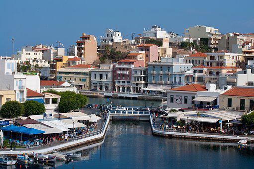 Greece, Agios Nikolaus, Port City, City, Architecture