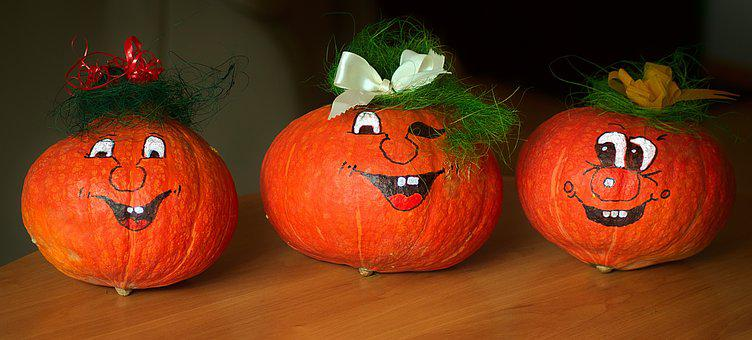 Pumpkin, Painted, Funny, Decoration