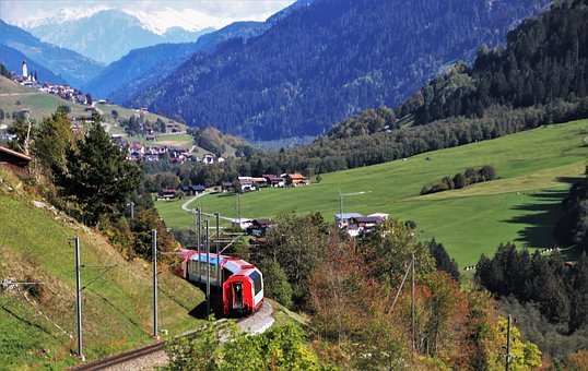 Mountains, Train, Travel, Rails, Landscape, Transport