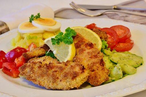 Schnitzel, Chicken Cutlet, Chicken, Bio, Baked, Salads