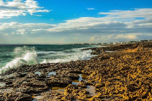 Rocky Coast, Waves, Sea, Nature, Landscape, Sky, Clouds