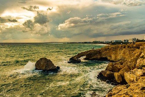 Rocky Coast, Waves, Smashing, Sea, Spray, Foam, Nature
