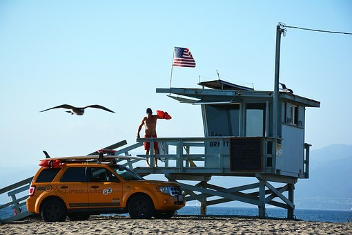 Lifeguard, Yellow, Beach, Coast, Surf, La, Summer, Sea