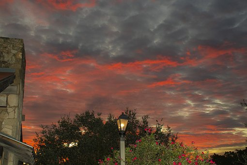 Sunrise, Texas Hill Country, Street Lamp, Colorful