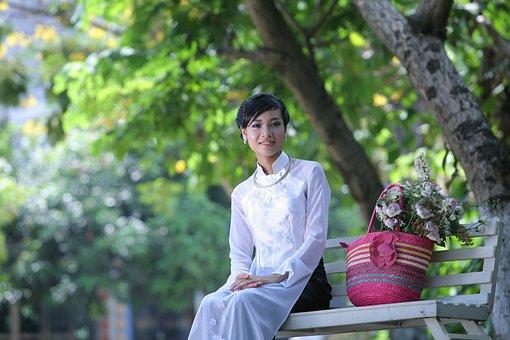Vietnam, Girl, Long Coat, Teen, White Shirt