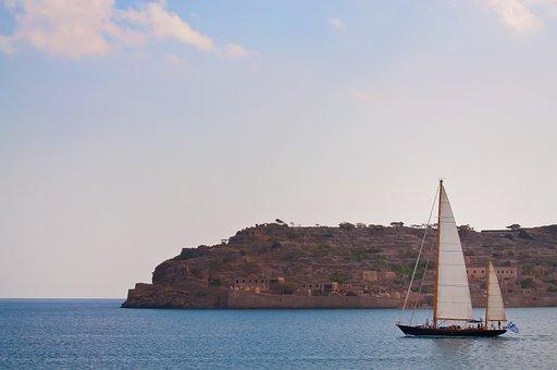 Island, Sailing Boat, Greece, Sea, Clouds, Water, Warm
