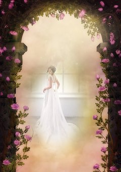 Fantasy, Rose Arch, Bride, Dreams, White, Romantic