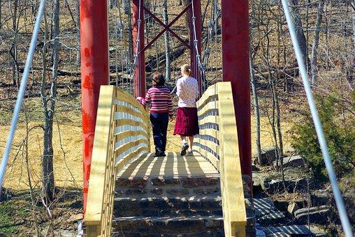 Girls On Lee Creek Footbridge, Wood, Suspension, Bridge