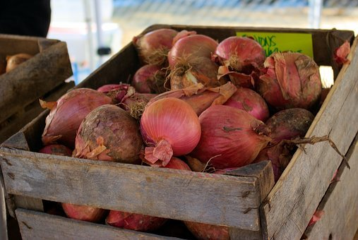 Farmers Market Purple Onions, Onions, Red, Purple, Wood
