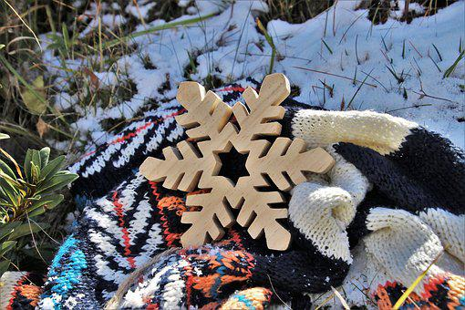 Cold, Shawl, Asterisk, Wooden, Snowy, Icy, Winter