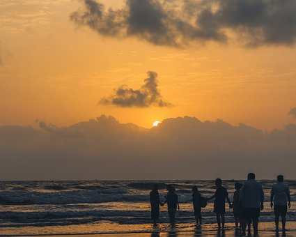 Nature, Sunset, People, Beach, Ocean, Cloudy, Day, Sun