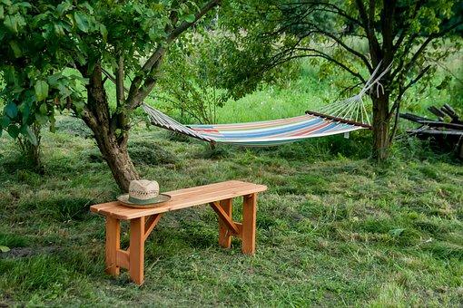 Bench, Hat, Scene, Landscape, The Idyll, Summer, Tree