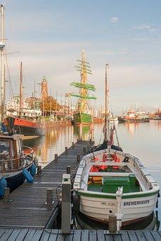 Bremerhaven, Port, Ship, Weser, Maritime, Water, River