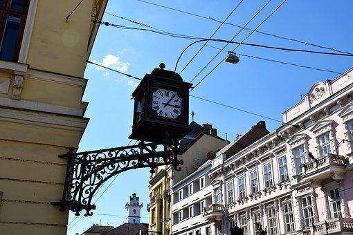 Clock, City, Time, Tower, Building, Historically