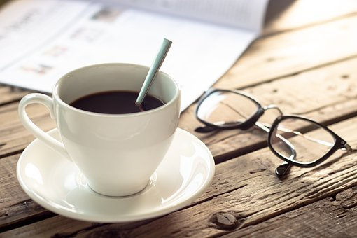 Coffee, Reading, Cup, Book, Table, Morning, Paper, Read