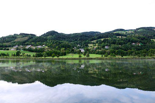 Landscape, Lake, Mountain, Mirroring, Color, Houses