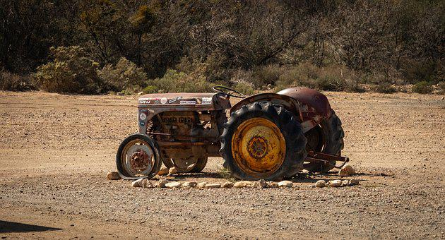 Tractor, Field, Old, Scrap, Oldtimer, Agriculture