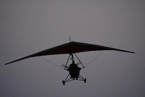 Hang Glider, Sky, Grey, Flight, Flying, Air