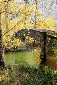 Autumn, Bridge, Leaves, River, Sun, Mirroring, Idyllic