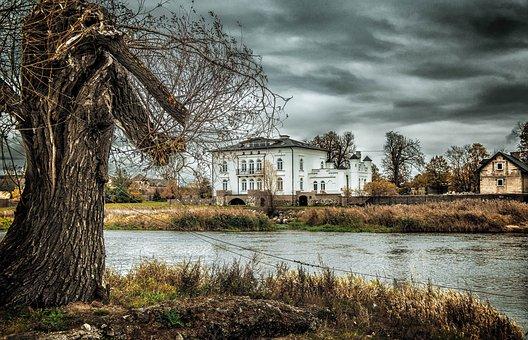 Tree, River, Landscape, Nature, Clouds, Manor
