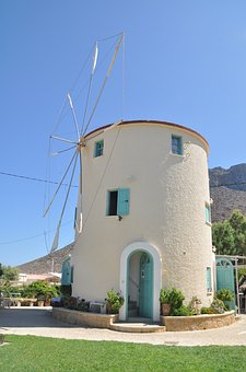 Windmill, Greece, Crete, Architecture, Mediterranean