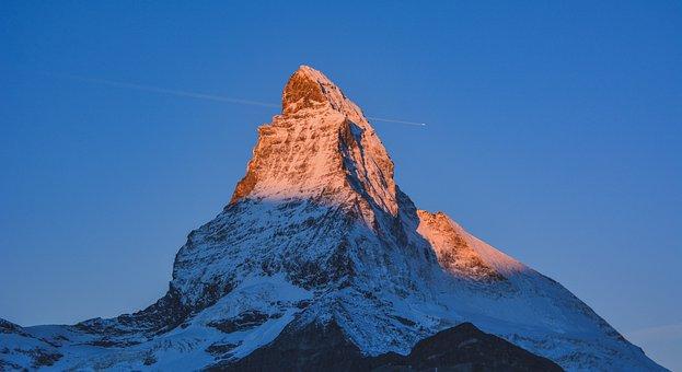 Mountain, Aurora, Matterhorn, Zermatt, Sky, Pic, View