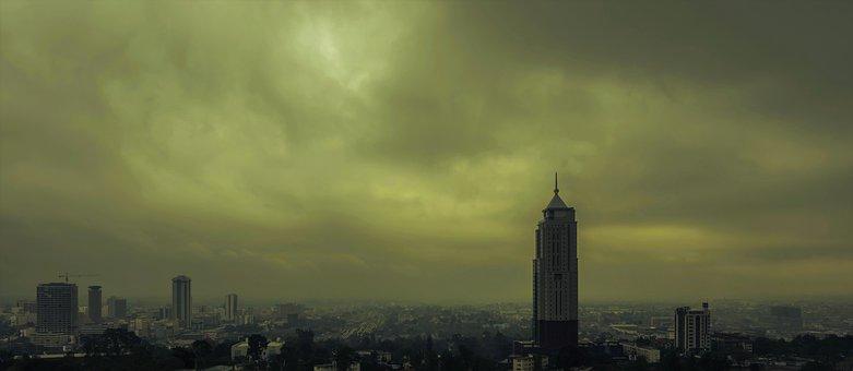 Nairobi, Uap, Towers, Dawn, Gloomy, Landscape