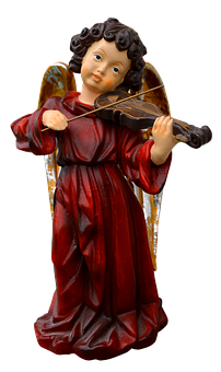 Angel, Isolated, Play The Violin, Figure, Music
