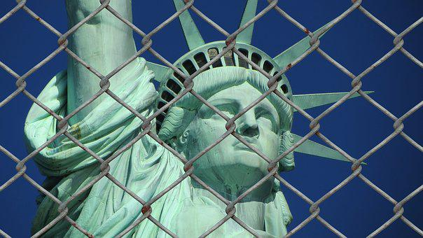Statue Of Liberty, Refugee, Crisis, Fence