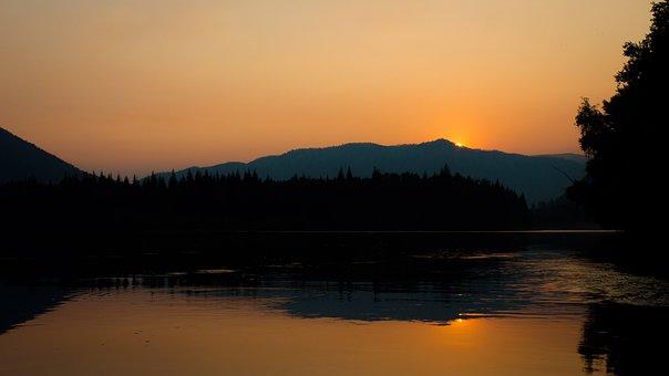 River, Sunset, Evening, Landscape, Sky, Twilight
