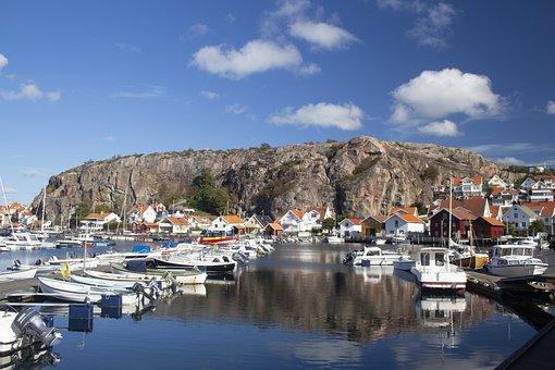 Sweden, Boats Coast, Summer, Nature, Sky, Salt Water