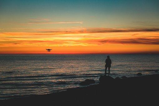 Drone, Droning, Sea, Pilot, Baltic, Coast, Sunset