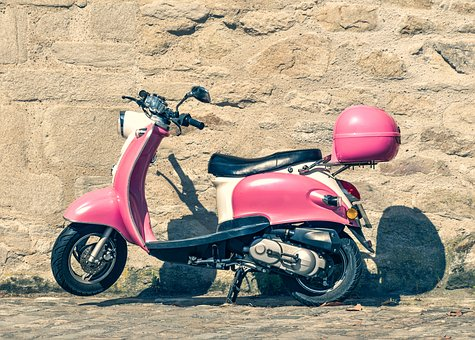 Scooter, Two-wheels, Vespa, Vehicle, Retro, Pink