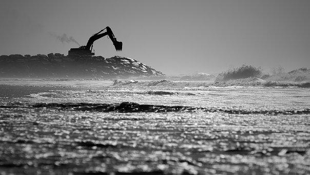 Sea, Beach, Wave, Excavators, Water, Ocean, Coast