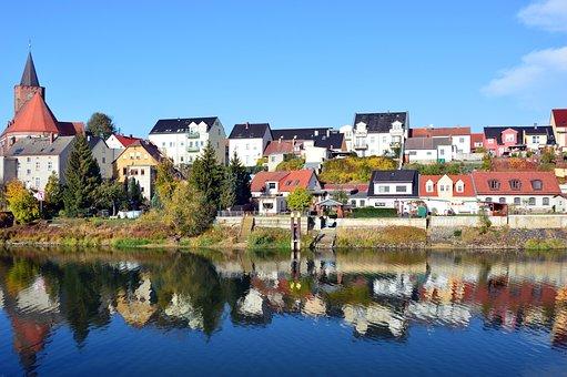 Landscape, City, City View, Backdrop, River, Bank