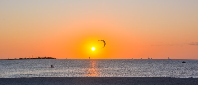 Sunset, Ocean, Beach, Sea, Kite Surfing, Boat