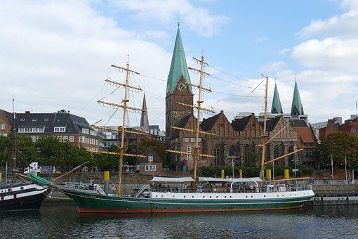 Bremen, Weser, River, Bank, Ship, Sailing Vessel