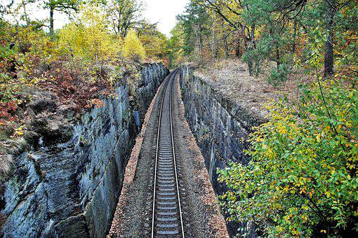 Track, Train, Railway, Autumn, Rock, Hole, Carved