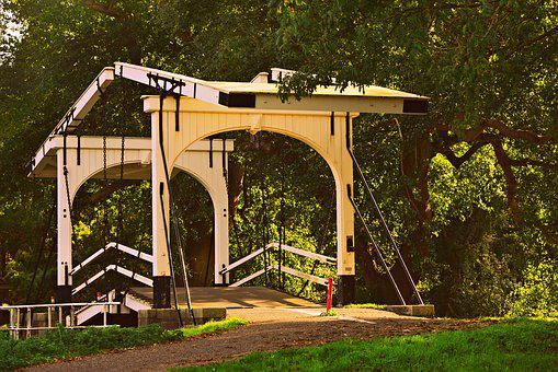 Drawbridge, Bridge, Crossing, Counterweight, Canal