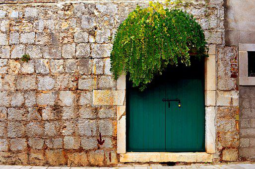 Green Door, Door, Green, Eaves, Door Frame, Doorway