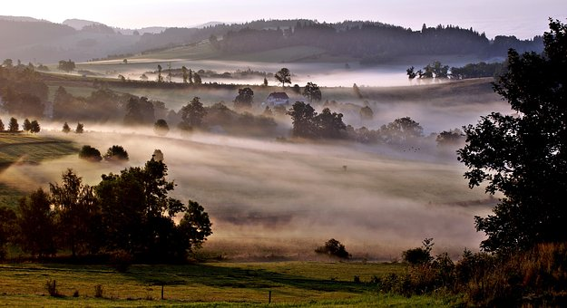 Bald Mountain, Dziwiszow, The Fog, Landscape, Mood