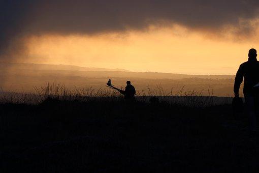 Evening, Afterglow, Silhouette, Model Flight