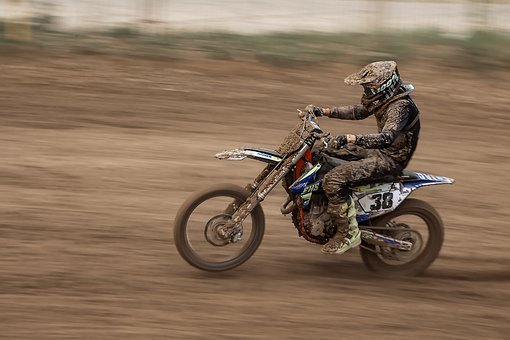 Motocross, Speed, Fast, Motorcycle, Dust, Dirt, Panning