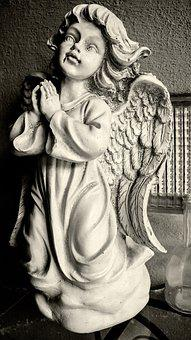 Angel, Sculpture, Statue, Figure, Cemetery, Wing, Stone