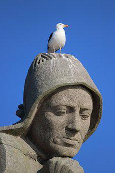 Statue, Seagull, Monument, Navy, France, St Mathieu